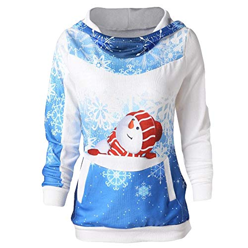 Christmas Sweaters,Kulywon Women Blouse Hoodie Velvet Christmas Print Bodycon Dress Ladies Party Tops(S/US 4,Blue )
