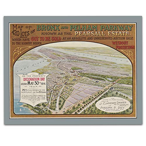 Bronx New York Vintage Map - Real Estate Auction - Circa 1914-11 x 14 Unframed Print - Great Housewarming Gift. New York Themed Office Decor. Great Gift for A Real ()