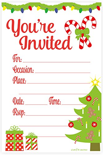 Christmas Invitations - Festive Christmas Party Invitations - Fill In Style (20 Count) With Envelopes