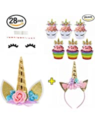 Unicorn Party Supplies Unicorn Cake Topper, 24 Pack Unicorn Cupcake Toppers Wrappers and Unicorn Headband, Gold