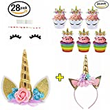 Unicorn Party Supplies Unicorn Cake Topper, 24 Pack Unicorn Cupcake Toppers Wrappers and Unicorn Headband, Gold