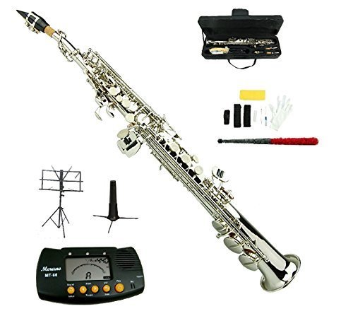 Merano B Flat Silver Nickel Soprano Saxophone,Case,Mouth Piece, Reed,Screw Driver, Nipper,a Pair of Gloves,soft Cleaning Cloth, Metro Tuner, Soprano Saxophone Stand, Music Stand (Soprano Trumpet)