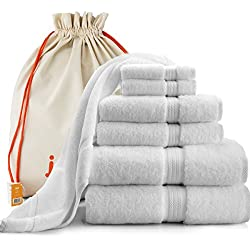 joluzzy Exlusive 7-Piece Towel Set - 100% Long-Staple Cotton - High Density Absorbent 700 GSM - Soft & Plush - Luxury Hotel Quality - 2 Bath Towels, 2 Hand Towels, 2 Face Towels, 1 Floor Mat, (White