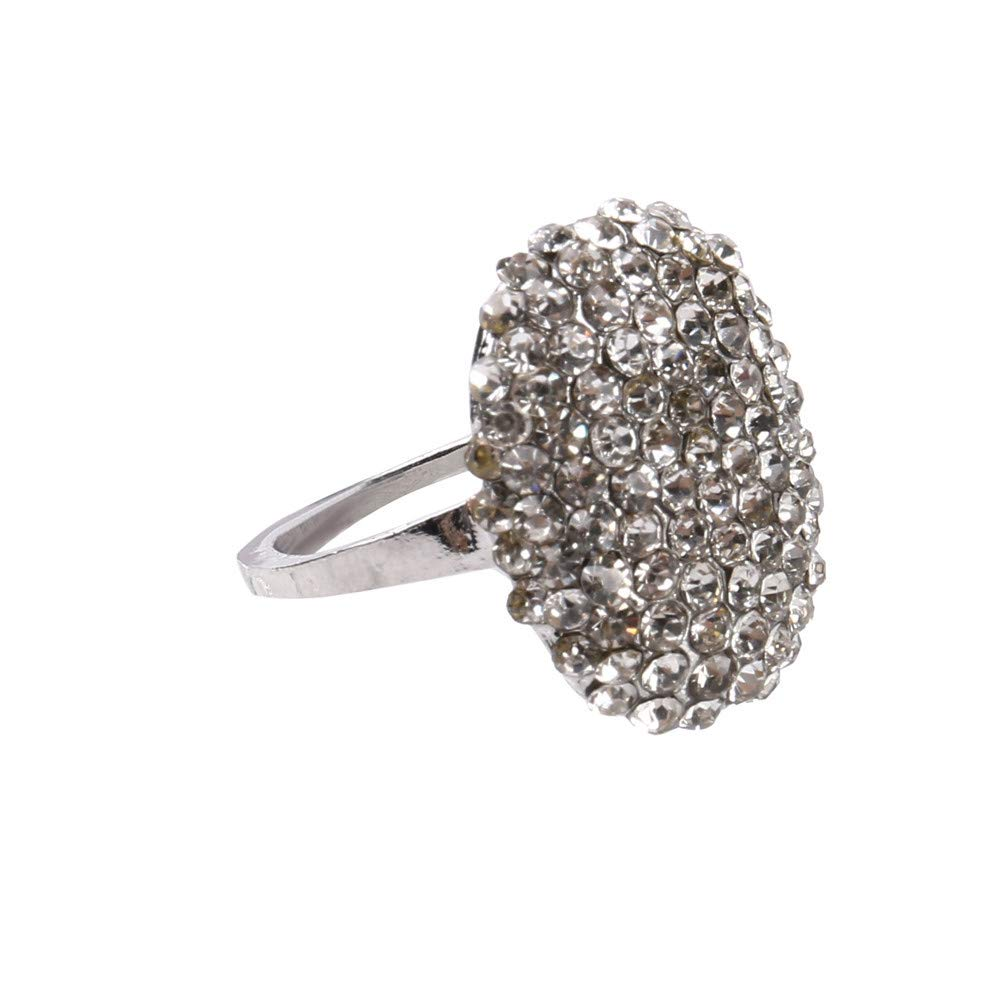 BOOBODA a396 Oval Full Diamond Rhinestone Ring Silver Crystal Jewelry Size 6-11 Ring(Silver,7#)