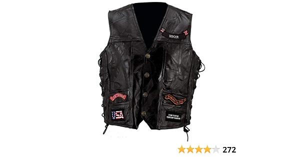2X Big Diamond Plate Rock Design Genuine Buffalo Leather Vest