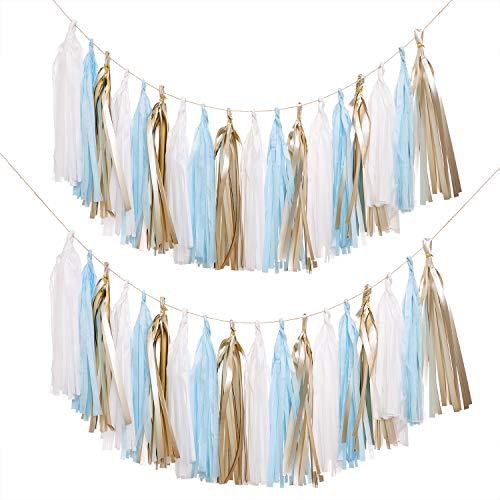 Lings moment 18 PCS Tassel Banner, Pack of 2, Tissue Paper Tassel Pompoms for Party Wedding Backdrop Baby Shower Nursery Christmas Birthday, DIY Kits - (Matte Gold + White + Blue)