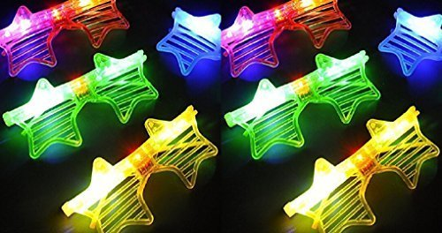 Party Favors Rave 12ct LED Light Up Sunglasses - Assorted Flashing Lights (Star)