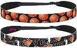 Hipsy Adjustable No Slip I Love Basketball Headbands for Women (Black Basketball 2pk)
