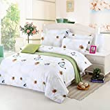 3D Animal and Flower Series Butterfly Print Duvet Cover 4Pcs Cotton Comforter Queen Size Bedding Set (white-butterfly)