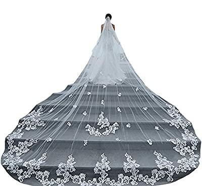 Fenghuavip 1T 4M Lace Wedding veils for Bride with Comb