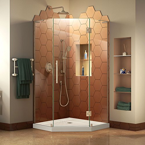 DreamLine DL-6060-04 Prism Plus W x 34 in. D Frameless Enclosure in Brushed Nickel Finish with White Shower Base, 36