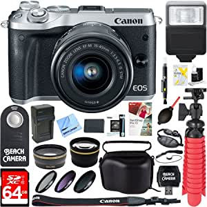 Canon M6 EOS 24.2MP Mirrorless Digital Camera with EF-M 15-45mm IS STM Lens (Silver) + 64GB Class 10 UHS-1 SDXC Memory Card + Accessory Bundle