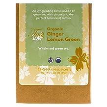 Heavenly Tea Leaves Organic Ginger Lemon Green- Silken Pyramid Tea Bags (Pack of 2)