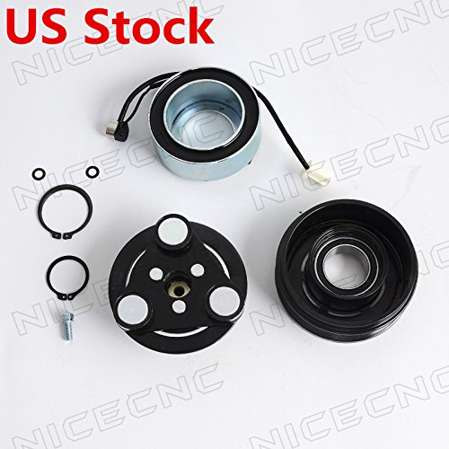 Price comparison product image NICECNC AC A / C Compressor Clutch Hub, Pulley, Coil, Bearing Repair Kit for Mazda 3 2004-2009 5 2006-2009 Cx-7 2007-2008 Universal 6 Groove Pulley
