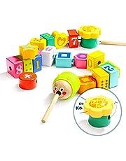 TOP BRIGHT Houten veters kralen en string voor peuters, Kids Threading Toys voor 2 3 jaar oud, Fijne Motor Skills Montessori speelgoed voor twee jaar oude kleuterschool jongen meisje geschenken