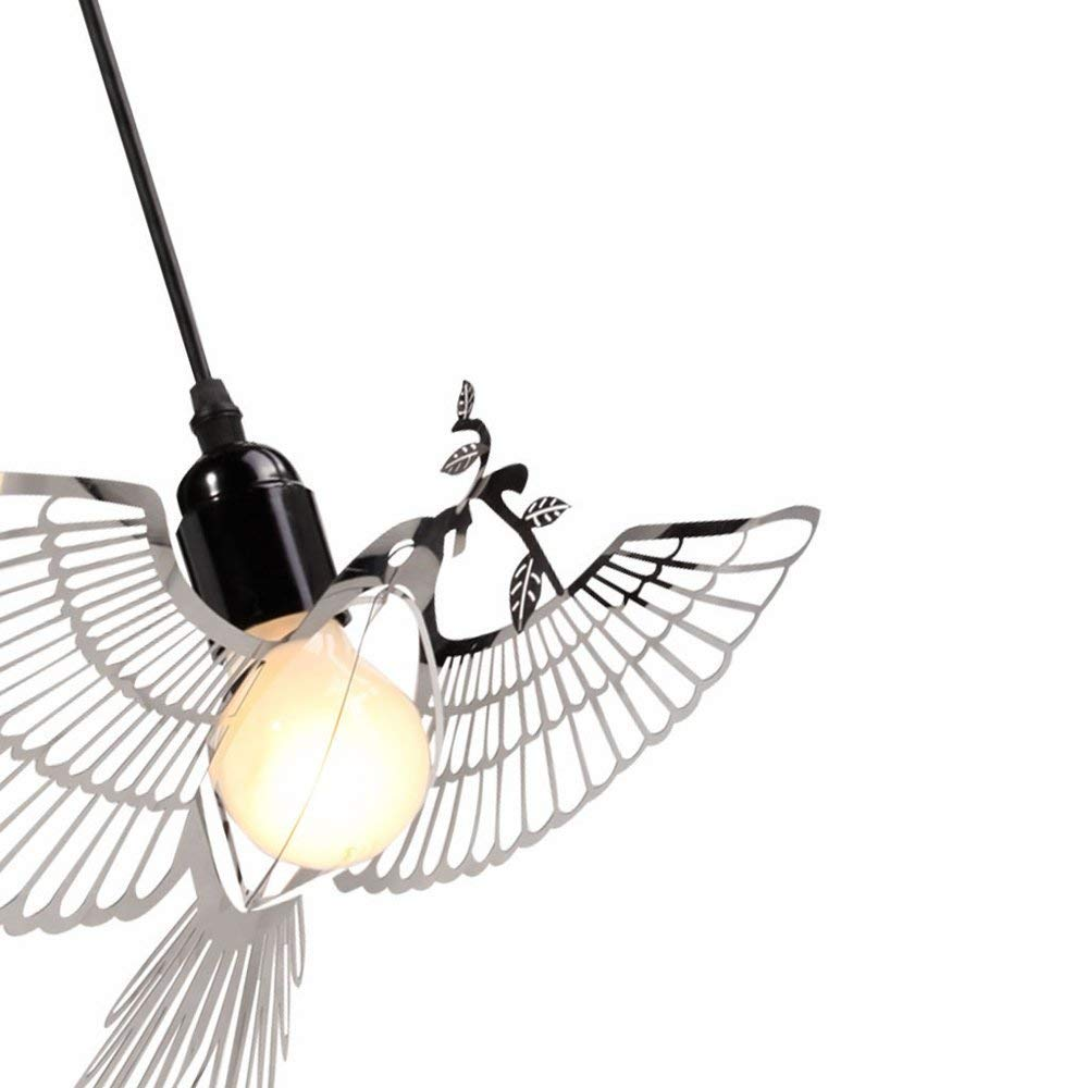 Moderne LED Pendelleuchten Kreativ Design Edelstahl Vögelchen Lampenschirm Pendellampe Hängelampe Hängeleuchte Anhänger Kronleuchter Höhenverstellbar1 Fassung 1 x E27 Lampenfassung max 60 W (Chrom)