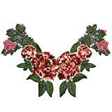 New 1Pcs Unique 3D Stereoscopic Embroidered Sequins Collar Flower Lace Trim Neck Applique Clothing Accessories Diy^Red.