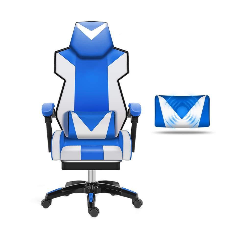 回転チェア 賭博の椅子、マッサージの腰椎サポートが付いている調節可能なPUの革張りの椅子の背中の後ろの競争の椅子の望遠鏡の足台 (色 : Steel feet)  Steel feet B07QL8CX8Y