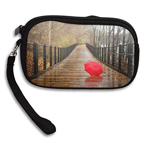 (Reteone Little Wallet - Red Umbrella On Bridge Coin Purse Storage Package - Money Holder Bag Key Handbag - Zipper Mini Wallet for Men & Women)