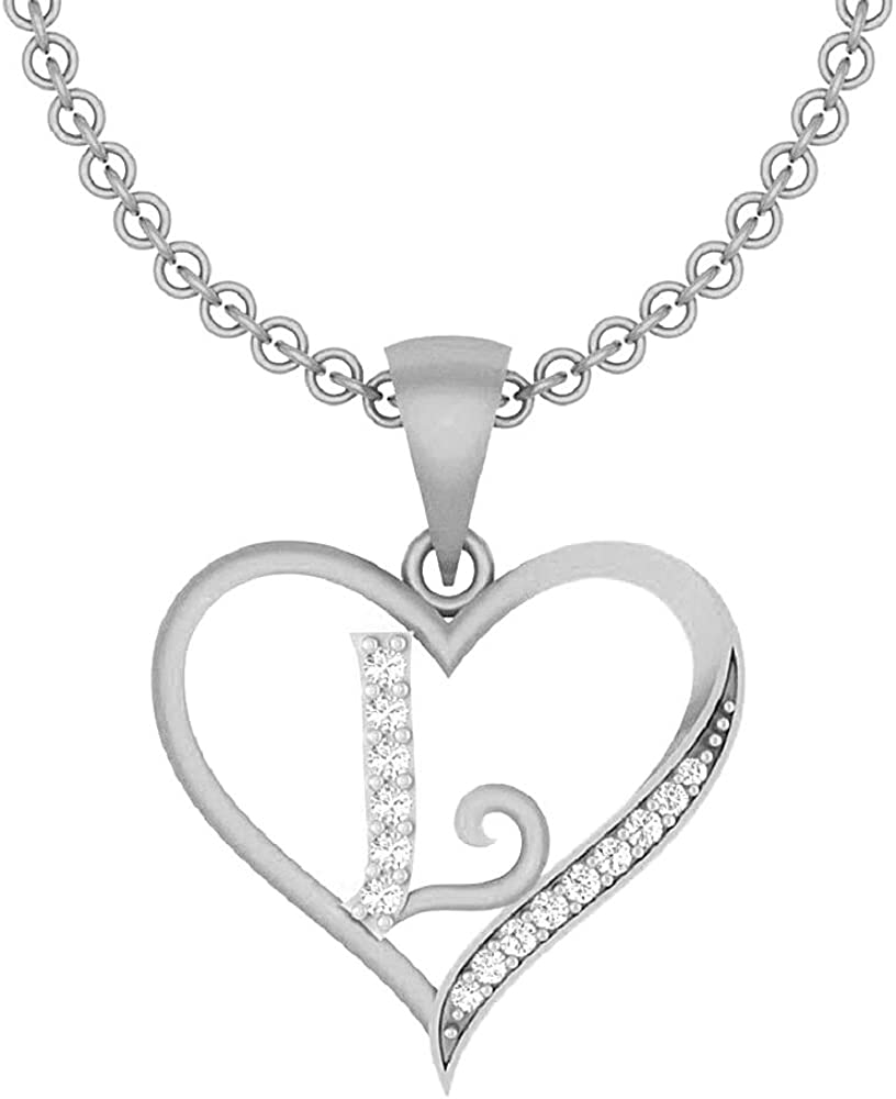 0.10 Ct Round Cut Simulated Diamond LetterG In Heart Pendant With 18 Chain 14K Yellow Gold Plated