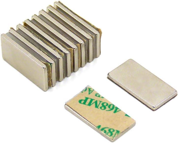 Nord pack de 10 2kg force dadh/érence Magnet Expert/® Adh/ésif 20 x 10 x 1,5mm N42 n/éodyme aimant