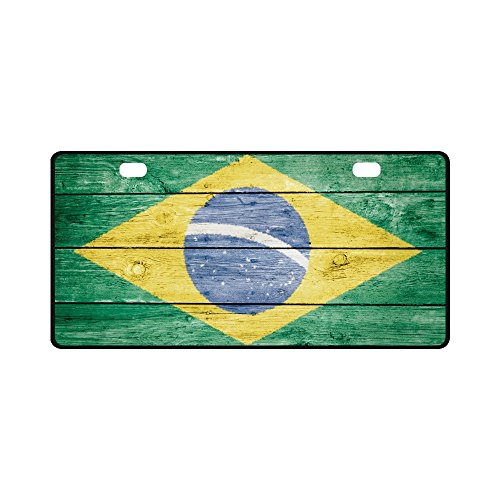 (InterestPrint Brasil Brazil Brazilian Flag Automotive Metal License Plate Cover, Metal Car Tag for Woman Man - 11.8