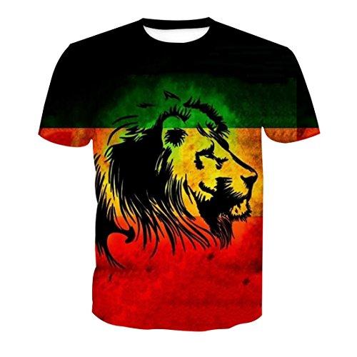 Courtes Imprimé Homme 2 T Rond shirt Animal Col Manches Style Acvip E0qO1wf