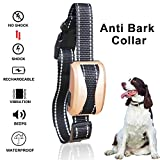 MATOP Dog Bark Collar Adjustable Rechargeable Waterproof Beep Sound Vibration Shock/ No Shock Collar with 7 Sensitivity Levels and Reflective Strip Anti Bark Collar for Small Medium Large Dogs Barking Control Training