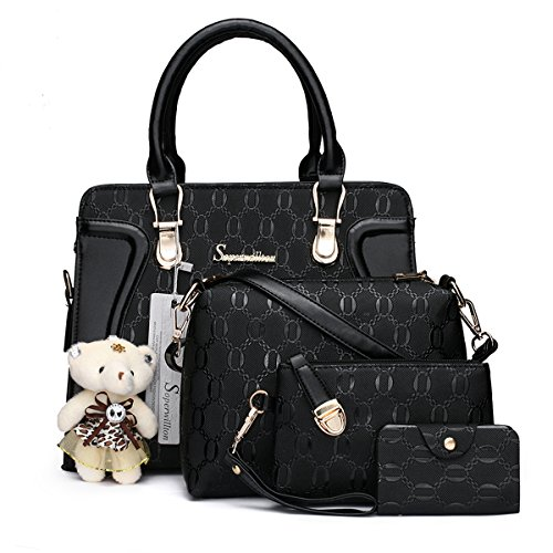 Soperwillton Handbag for Women Tote Bag Shoulder Bags Satchel 4pcs Purse - Clutch Mini Bow