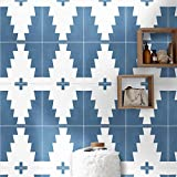 Moroccan Mosaic & Tile House CTP69-02 Midar Handmade Cement Tile Navy Blue/White