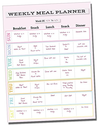 "Dry Erase Meal Planner Calendar - 14.5"" x 11"" inch - Refrigerator Weekly Menu Prepping Sticker Board - Adhesive Fitness Prep Wall Sticker - Pink Non Magnetic Chart Decal - Summer Body Weight Loss Plan"