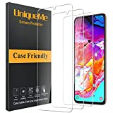[3 Pack] UniqueMe Compatible with Samsung Galaxy A70 Screen Protector,9H Hardness Bubble Free Tempered Glass with Lifetime Replacement Warranty