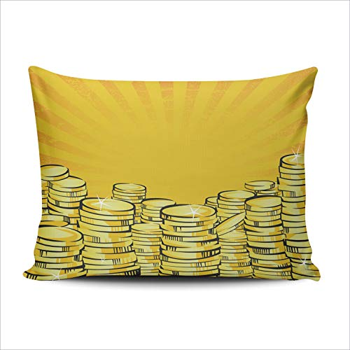 Economy Chair Stack - WULIHUA Pillow Covers Golden Money Stacks Gold Coins The Shining Wealth Sofa Durable Modern Pillow Case Decorative Custom Throw Pillow Cases one Side Printed Queen 20x30 Inches