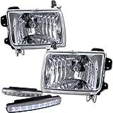 1998-2000 Nissan Frontier Headlights Lamps + 8 Led Fog Bu...