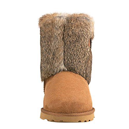 Mid Chestnut calf Women's Boots Shenduo D13030 Snow 4T7vP0v