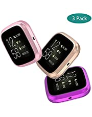 GeeRic Case Compatible with Fit Bit Versa 2, 3 Pack Soft Full-Around Cover Screen Protector (Rose Gold/Purple/Rose Pink)