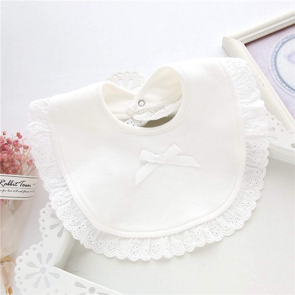 SEniutarm Double Layer Baby Bib Ruffle Solid Color Absorbent Feeding Apron Saliva Towel White