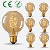 HONGJING 40W Vintage Edison Bulb, G80 Globe Antique Style, Squirrel Cage Filament Light Bulb for Home Light Fixtures, E27 Base 110V 6Pack