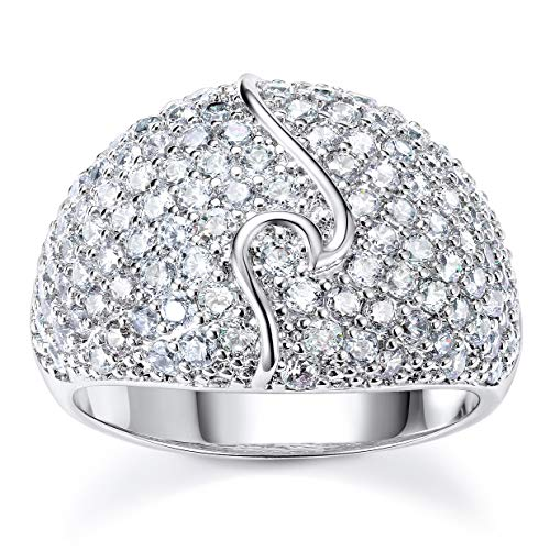 Pophylis Wave Design Statement Ring Diamond Accent Dome Wedding Band for Girls Size 6/7/8/9