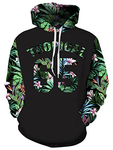 (RAISEVERN Unisex Tropical 65 3d Graphic Leaves Printed Hoodie Casual Long Sleeve Pullover Hooded Sweatshirt Clothes For Men,2017 Style Trapical 65,Small / Medium )