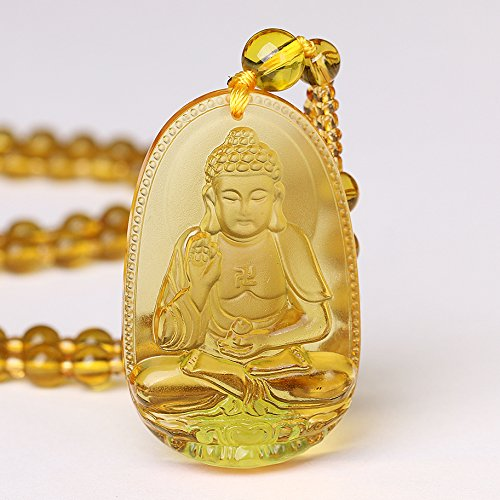 - Yumten Hand Carved Natural Citrine Gemstone Bodhisattva Amulet Talisman Buddha Pendant Chain Necklace for Lucky Gift Crystal Men and Women Jewelry (F003-8)