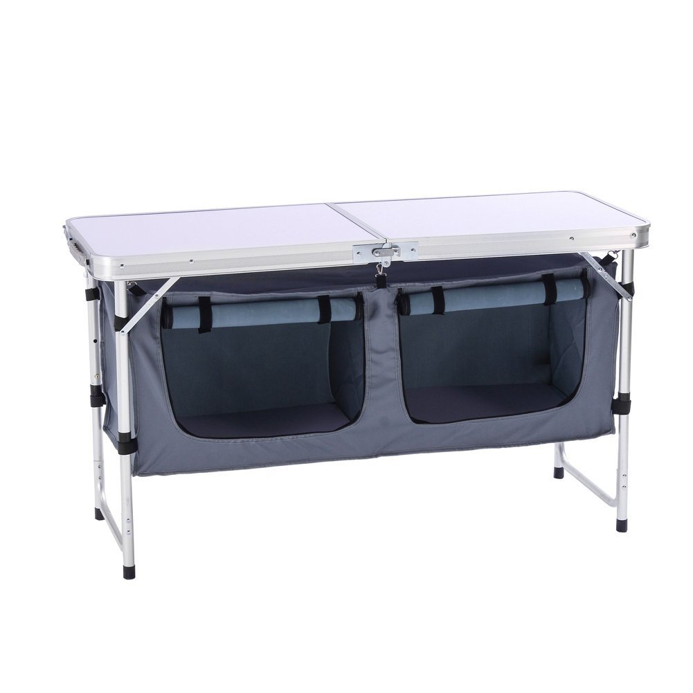 Backyards Beach BBQ Party and Picnic CampLand Aluminum Height Adjustable Folding Table Camping Outdoor Lightweight for Camping