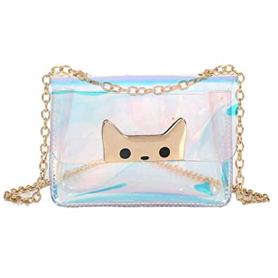Nuevas mujeres Bolsa transparente Claro Mini Cat Head Jelly ...