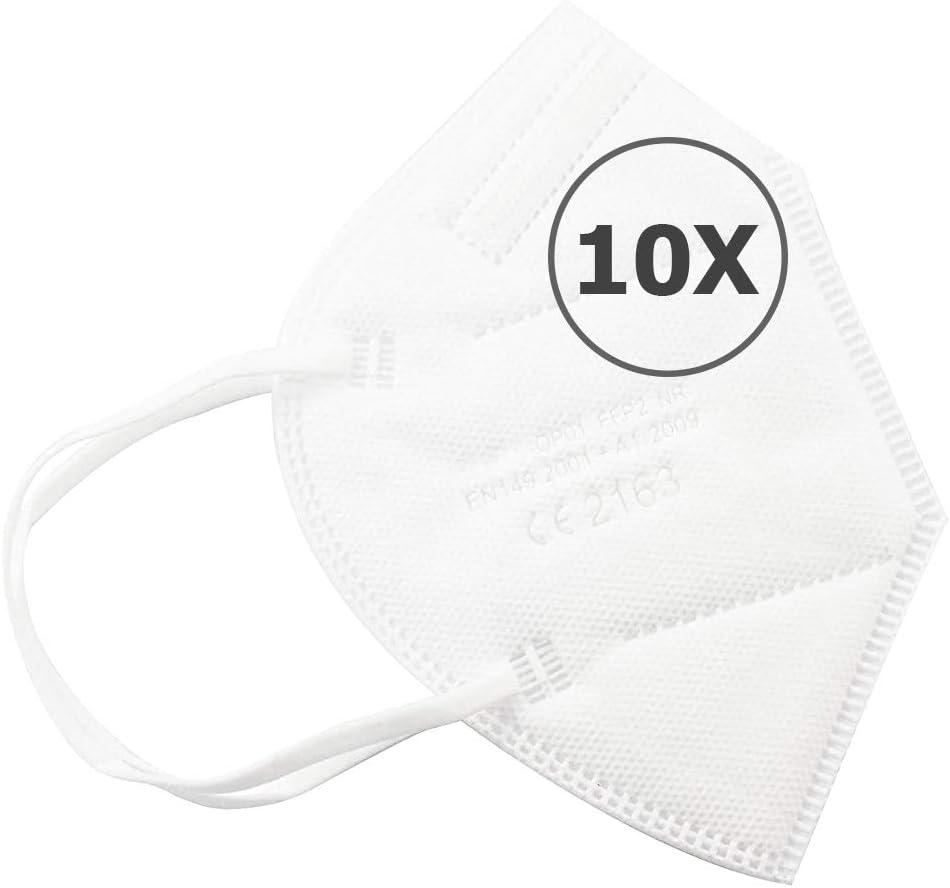 TBOC Mascarillas FFP2 - [Pack 10 Unidades] Máscaras Desechables [Color Blanco] 5 Capas [No Reutilizables] Transpirables Plegables con Pinza Nasal [Certificadas y Homologadas CE 2163] Calidad Premium