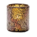 Hollowick 6301G Crackle Gold Glass Votive Lamp