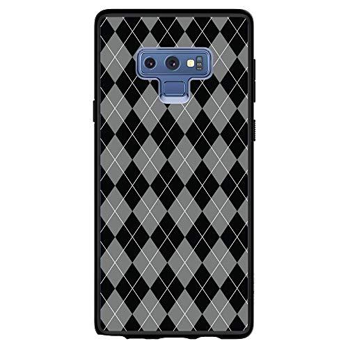 DistinctInk Case for Samsung Galaxy Note 9 - Custom Black Spigen Ultra Hybrid - Black Grey White Argyle