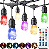 Fityou Outdoor String Lights, Waterproof Dimmable LED String Light 48FT 24 Hanging Sockets,Vintage Warm White & Color Changing Café String Lights with Smart Remote for Patio (48Ft)