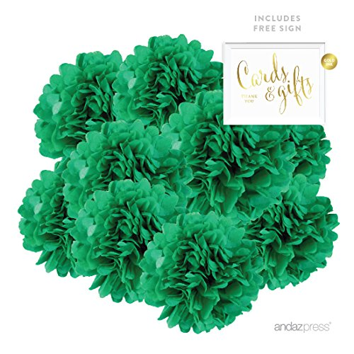 Andaz Press Hanging Tissue Paper Pom Poms Party Decor Kit with Free Party Sign, Emerald Green, 8-Pack