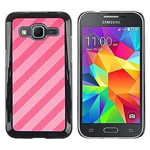 Caramelo Líneas rosadas paralelo Patrón Fucsia- Metal de aluminio y de plástico duro Caja del teléfono - Negro - Samsung Galaxy Core Prime