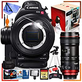Canon C100 Cinema EOS Camera with CN-E 18-80mm T4.4 Compact-SERVO Cinema Zoom Lens, Fully Loaded Recording Bundle
